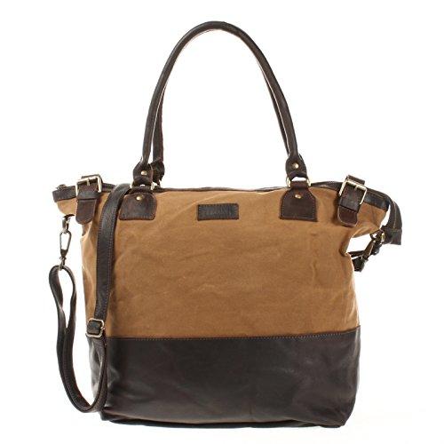 LECONI XL Shopper für Damen kleiner Weekender Beuteltasche große Frauen Schultertasche Wickeltasche Umhängetasche aus Canvas & Leder 50x41x20cm khaki LE2005-C
