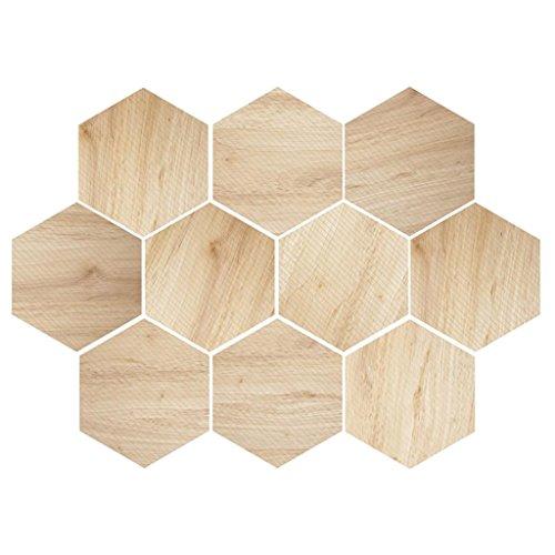 non-brand 10 Stück Hexagonal Wandfliesen Fliesen Aufkleber für Küche Badezimmer - Holz 2