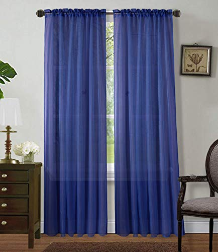 """Sapphire Home 2 Panels Window Sheer Curtains 54"""" x 63"""" Inches (108"""" Total Width), Voile Panels for Bedroom Living Room, Rod Pocket, Decorative Curtains, Solid Sheer 63"""" Royal Blue"""