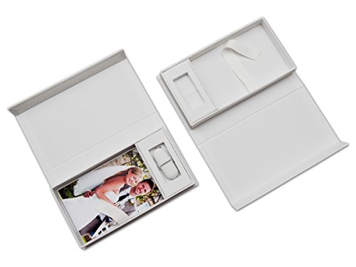 Bruiloft USB-opbergdoos met fotobox. wit. Zonder USB-stick