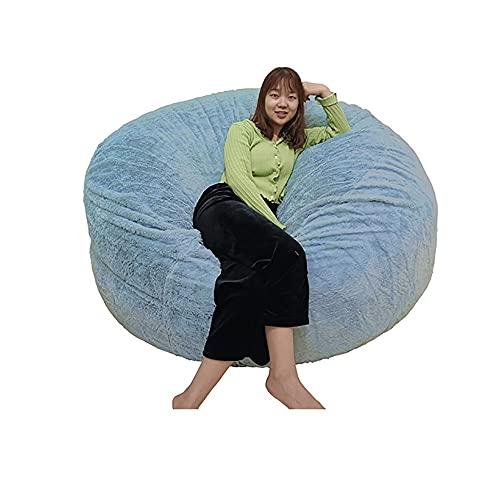 Ninhao Puf de Piel sintética de 6 pies (Solo Cubierta), Funda de puf de Piel Gigante para niños Adultos, Parejas, sillón de Piel mullida, Silla de Almacenamiento (Color : Sky Blue)