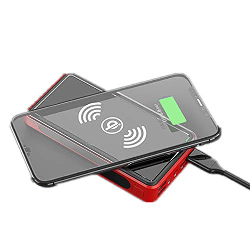 Solar Power Bank 50000Mah QI Wireless Solarladegerät Schnelles Aufladen Externer Akku Tragbareladegerät 4 Ausgang(USB C/QI) 3 LED Taschenlampe Wasserdicht Akkupack Für Smartphones, Handys,Rot