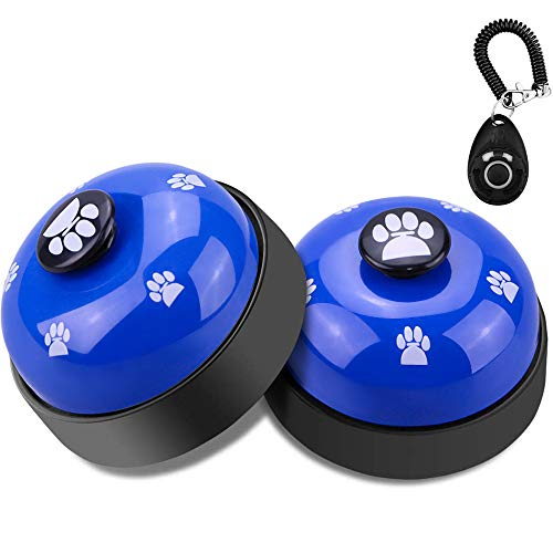 Comsmart Dog Training Bell, Set of 2 Dog Puppy Pet Potty Training Bells, Dog Cat Door Bell Tell Bell with Non-Skid Rubber Base + 1Pcs Dog Training Clicker with Wrist Strap