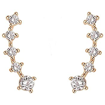 PAVOI 14K Rose Gold Plated Sterling Silver Post Climber Arrow Ear Crawler Pearl Earrings Set