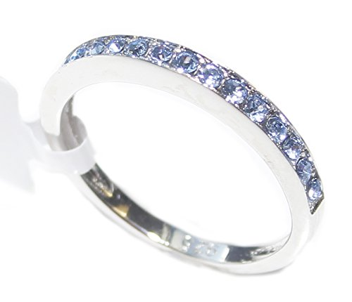 Ah! Jewellery Ladies Blue Finest Grade AAA Cubic Zirconia Classy Half Eternity Ring. Attractive Channel Set Band. Appealing Sterling Silver. Stamped 925. Never Tarnish. Very Pretty & Girly.