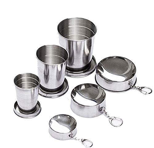SUIYUE EIN Satz von Vier tragbaren Weingläsern und Wassergläsern aus Edelstahl sowie einem tragbaren Teleskop-Reisebecher aus Edelstahl mit Schlüsselring (Faltbar, M)