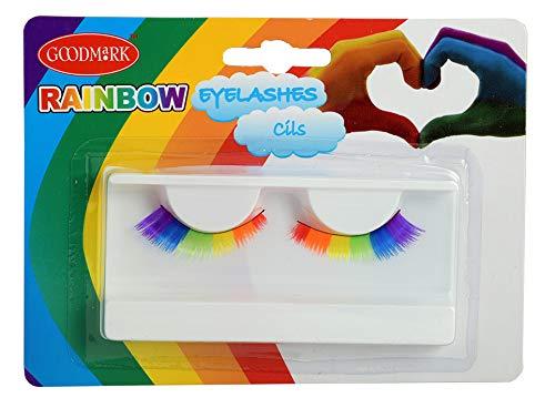 Goodmark 02070742 - Künstliche Wimpern in Regenbogenfarben, 1 Paar, Einheitsgröße, auf Blisterkarte, Rainbow Lashes, Falsche Wimpern, Make-Up, Farbverlauf, Karneval, Verkleidung, Homosexualität