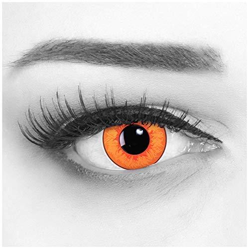 Farbige Orange Kontaktlinsen 1 Paar Overwatch Tracer Circle Lenses Heroes Of Cosplay Stark Deckend. Monatlinsen für Kostüme, Halloween, Fasching, Karneval mit gratis Linsenbehälter - Ohne Stärke
