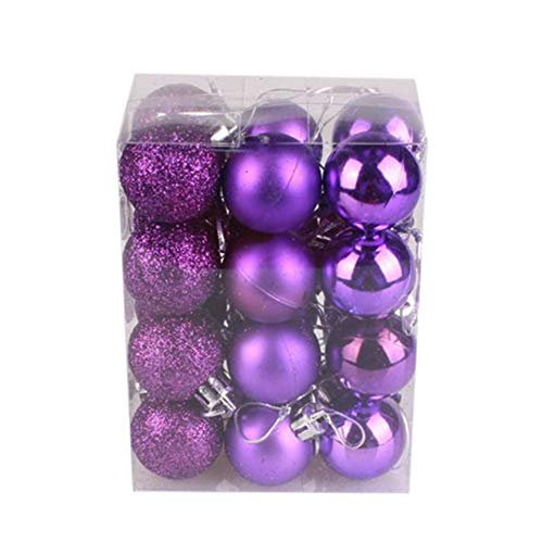 Christmas Baubles Sale Clearance - 24Pcs 30mm Christmas Tree Balls Ornaments Christmas Decorative Bauble Pendant Decorations Hanging Home Party Decor Merry Christmas Holiday Xmas Gifts (Purple)