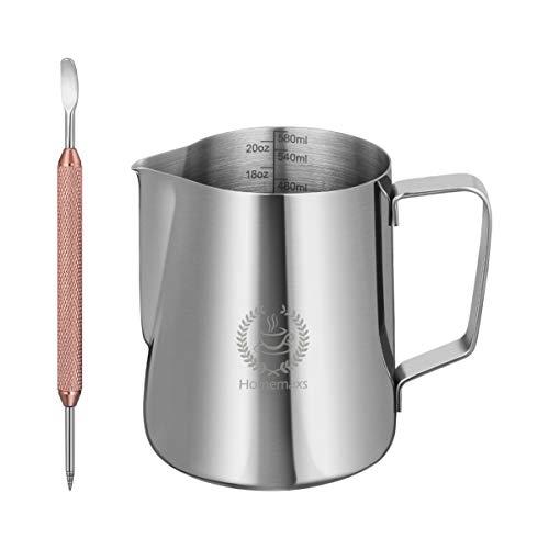 Hemoton - Jarra de leche para espumar, 600 ml, acero inoxidable, jarra...