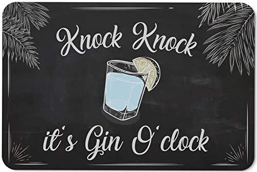 Tassenbrennerei Fußmatte mit Spruch Knock Knock it´s Gin 0´Clock - Türmatte lustig für Gin Liebhaber - für innen & außen - waschbar