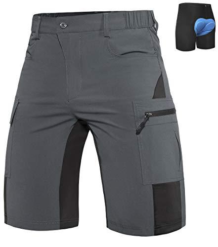 """Wespornow Herren MTB Radsport Kurz Hose - Lose sitzende MTB Shorts zum Radfahren mit 5 Taschen (Grau, Waist 28""""-30"""")"""