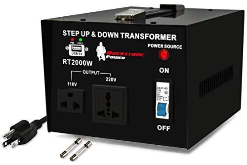 Rockstone Power 2000 Watt Voltage Converter Transformer - Heavy Duty Step Up/Down AC 110V/120V/220V/240V Power Converter - Circuit Breaker Protection – DC 5V USB Port - CE Certified [3-Year Warranty]
