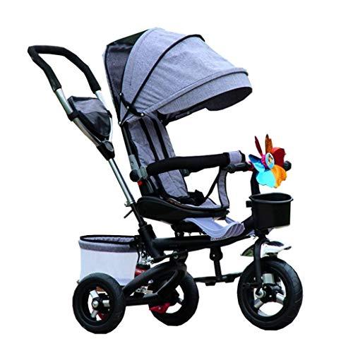 KSW_KKW Ciclismo niño Plegable niño Triciclo niño y niña Carros Asiento Puede Girar con Montar a Caballo al Aire Libre del toldo Kid (Color : Gray)