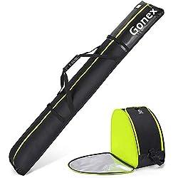 in budget affordable Gonex padded ski bag and boot bag combo, adjustable length waterproof ski bag for men and women, …