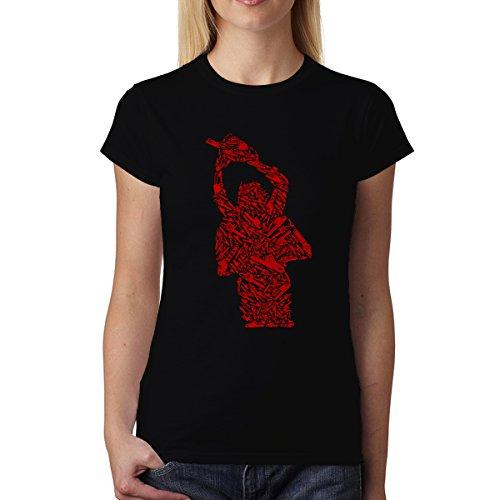 avocadoWEAR Motosierra Asesino Ataque Mujer Camiseta Negro 3XL