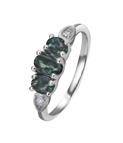 Natural Color Change Alexandrite Diamond Ring in 14K White Gold