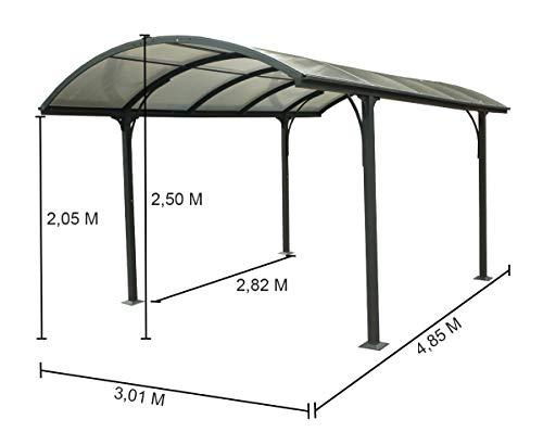 Habrita Carport Aluminium 14,62 m2 - Toit 1/2 Rond