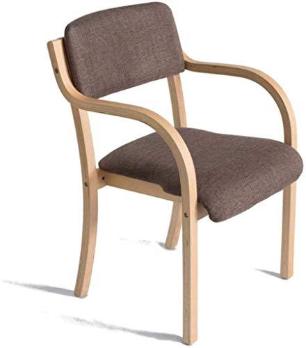 Marco de madera sólida moderna minimalista Pila Silla de armas de carbón-heces Comedor Estudio Individual Ministerio del Interior silla de la computadora de escritorio, lino del amortiguador butaca de