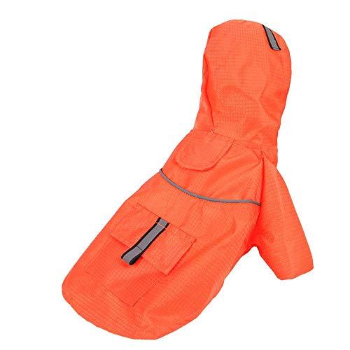 Miwaimao - Chubasquero para perros con capucha para primavera, verano, color naranja, M No.