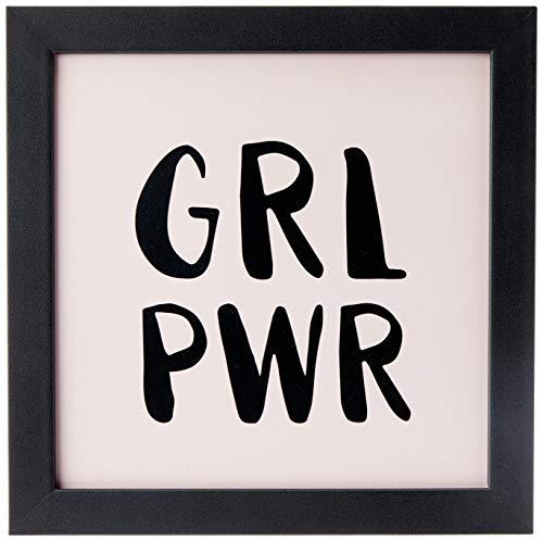 Quadro Decorativo Grl Pwr - 32,5x23cm (Moldura em laca preta) - Arte Maníacos