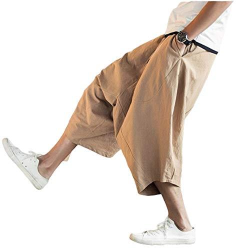 Pantalones Sueltos De Algodón Y Lino Pantalones Harem para Hombres Pantalones Cortos Pantalones De Gran Tamaño Casual Pantalones De Baja Calidad Pantalones De Playa