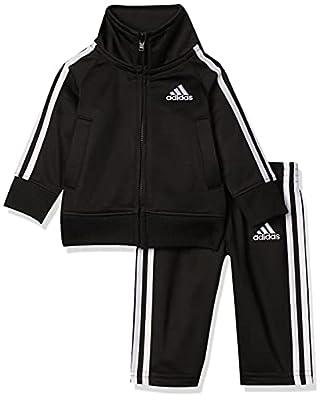 adidas Baby Boys Li'l Tricot Jacket & Pant Clothing Set, Black, 18M by adidas