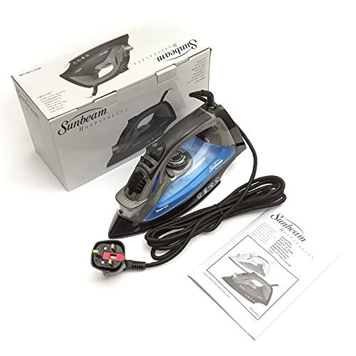 PetrolScooter Distribuido Sunbeam profesional ropa plancha de vapor 1200 W ClearView LED tecnología 3 vías movimiento inteligente apagado automático anti goteo negro/azul enchufe Reino Unido