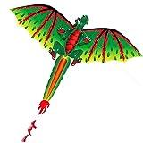 SDCVRE Cometas 3D Dragon 100M Kite Flying Single Line con Cola Cometas Niños al Aire Libre Diversión Juguete Cometa Familia Deportes al Aire Libre Juguetes Cometas para Adultos, Verde, China