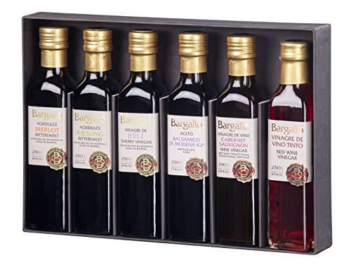 Pack 6 Vinagres 250ml Olis Bargalló - Merlot + Riesling + Cabernet + Balsámico de módena + Vino tinto + Jerez