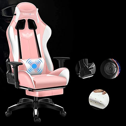 LTHDD Home Office Chair, Lift Game Sports Seat, Home Office Reclining Internet Cafe, Gaming Swivel Chair, 4 Colors Optional 360-degree Swivel Chair (Color: Black) (Color : Pink)