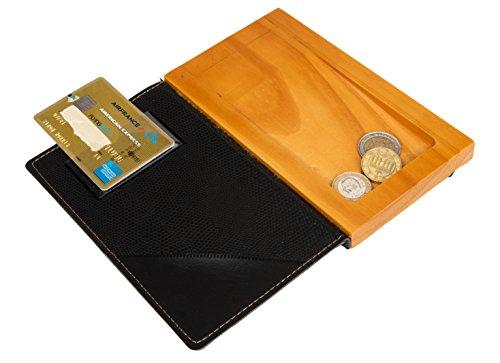 Vermes Securit Trendy estilo piel portafactura–madera moneda soporte–negro, Madera