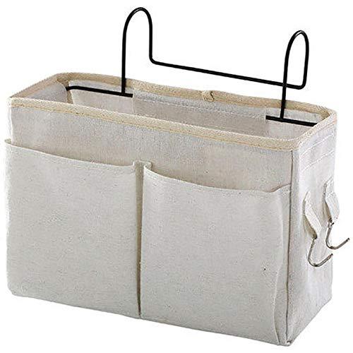 Bedside Storage Organizer Bed Desk Bag Sofa TV Remote Control Hanging Caddy Couch Storage Organizer Bed Holder Pockets White