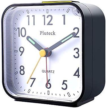 BOJON Réveil analogique sans tic-tac sur le lit - Petites horloges de table silencieuses - Réveil de voyage avec fonction sno