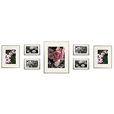 Frametory, Gallery Wall Collection 7-Piece Aluminum Silver Photo Frame Kit with Ivory Color Mat & Real Glass
