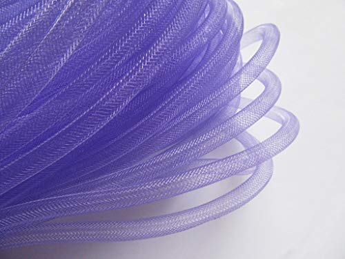 YYCRAFT 15 Yards Solid Mesh Tube Deco Flex for Wreaths Cyberlox CRIN Crafts 8mm 3/8 Inch(NO FOIL)-Lavender