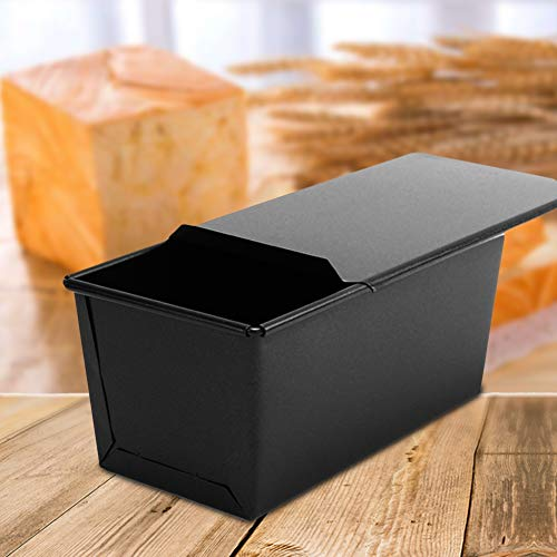 SoFull 250/450/750/1000g Black Non-clay Division Box,Non-stick Toast Box Bread Loaf Pan Mold with Lid Baking Tool,Bread Mold Baking Mold 450g