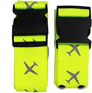 2 Packs Travel Luggage Strap Detachable Adjustable Packing Belts, Heavy Duty Suitcase Bag Security Straps with Airplain Pattern (Green, Long Cross)