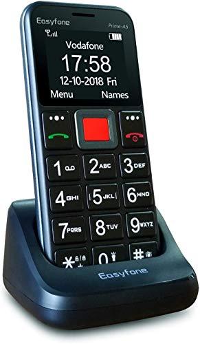 Easyfone Prime-A5 GSM Mobiltelefon Senioren-Handy mit großen Tasten und ohne Vertrag | Mit Notruf-Knopf und Taschenlampe und Ladestation - Schwarz