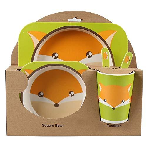 Juego de cena de bambú para niños de 5 piezas Shopwithgreen Tablero para niños Plato de comida Tazón Taza Cuchara Tenedor Juego Vajilla Vajilla de dibujos animados