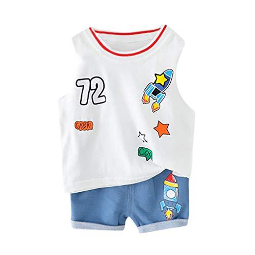 Julhold Kleinkind Baby Kinder Jungen Mode Freizeit Atmungsaktive Cartoon Rocket Weste Tops Short Casual Outfits Sommer