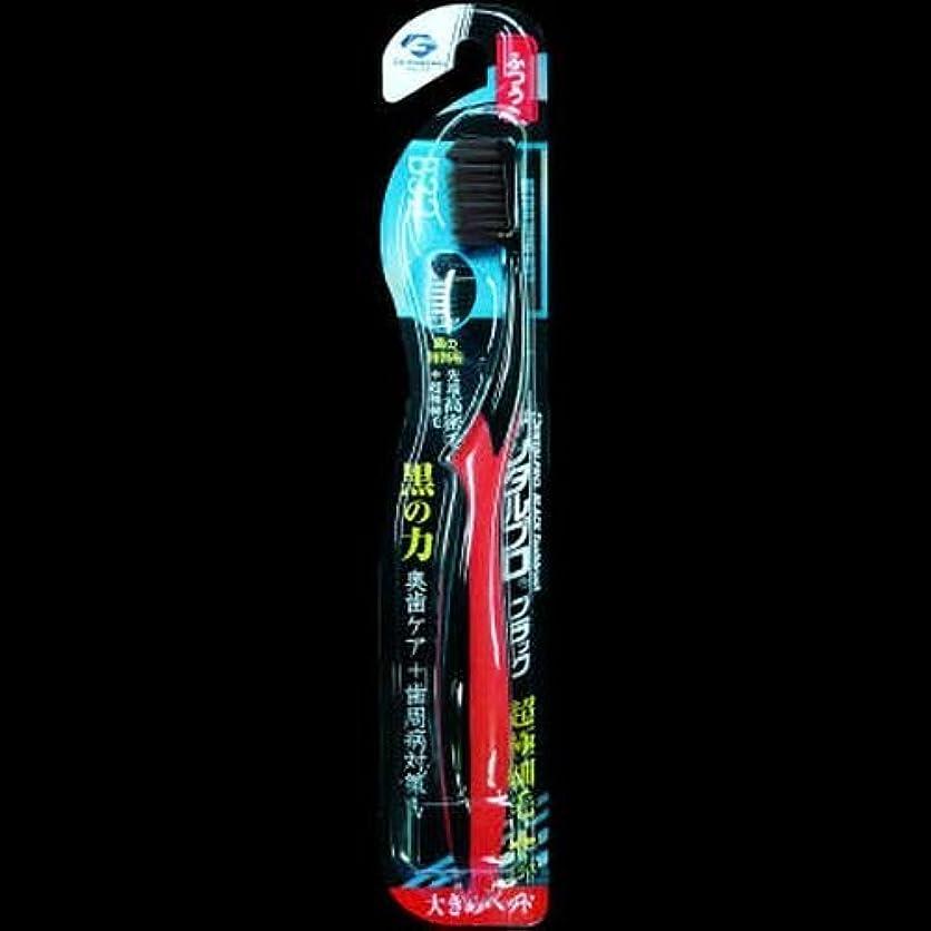 倍増教えてカメデンタルプロ ブラック歯ブラシ 超極細毛プラス大きめヘッド ふつう ×2セット