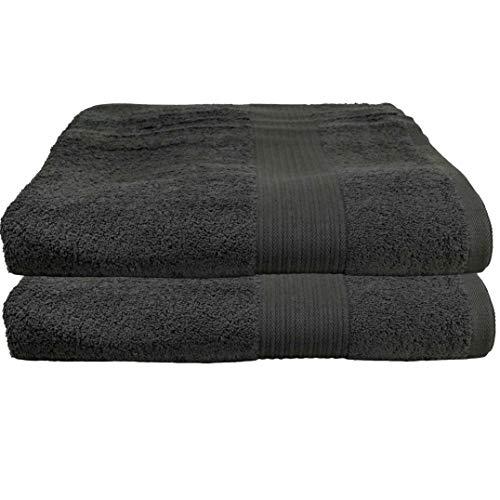 Lot de 2 serviettes de sauna anthracite 80 x 200 cm