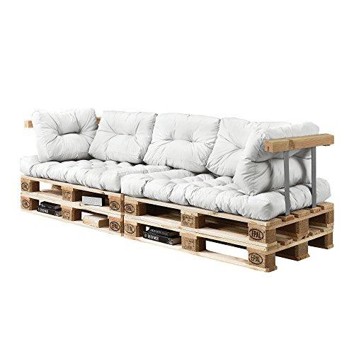 [en.casa] Euro Paletten-Sofa - DIY Möbel - Indoor Sofa mit Paletten-Kissen/Ideal für Wohnzimmer - Wintergarten (2 x Sitzauflage und 5 x Rückenkissen) Weiß