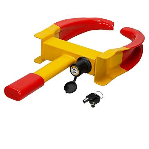ECD Germany Radkralle Parkkralle mit Sicherheitsschloss und 2 Schlüsseln für PKW Wohnwagen Anhänger - Reifenbreite 17-26 cm - Felgenkralle Reifenkralle Wegfahrsperre Diebstahlsicherung