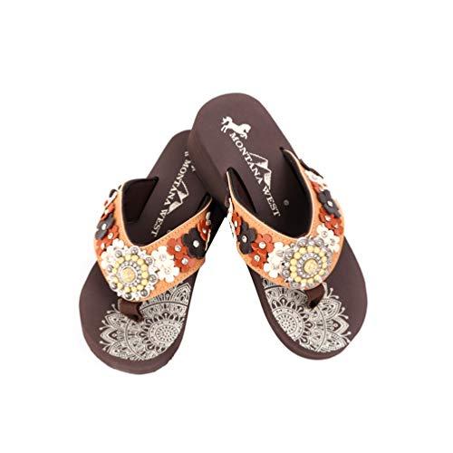 Montana West Flip Flops for Women Hand Beaded Flip Flop Sandals Embroidered Studded Flip Flop Brown SE97-S096BR-6