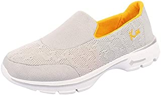 KazarMax Women's Grey & Yellow Slipon's Walking Sneakers (Washable with Quick Dry Fabric) [Made in India]