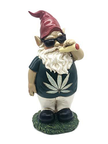 FICITI Weed Smoking Gnome, Funny Garden Gnome, Stoner Lawn Gnome, Hilarious Gnome - 10 Inches