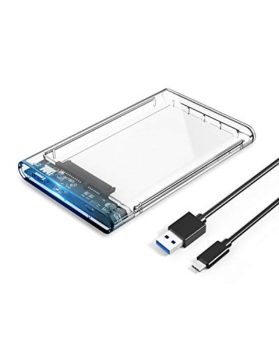 """ORICO Strumento Free USB3.1 Gen1 Tipo-C a SATA III da 2,5""""Contenitore per Disco Rigido Esterno da 2,5 Pollici SATA Type-C HDD/SSD [Supporto da 2 TB e UASP] - Chiaro"""