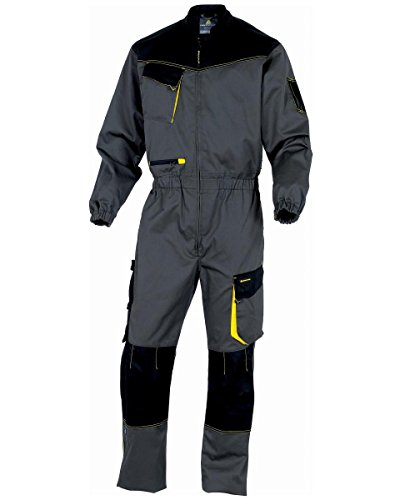 Deltaplus DMCOMGJXG D-Mach Arbeitskombination Aus Polyester Baumwolle, Grau-Gelb, Größe XL